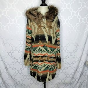 BB Dakota Santa Fe Fur Trim Coat